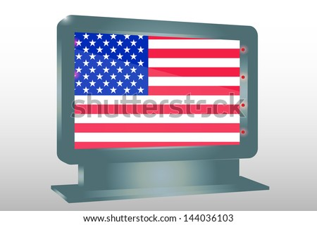 3D Vector Illustration of a Glass Holder isolated with the flag of the United States of America - stock vector