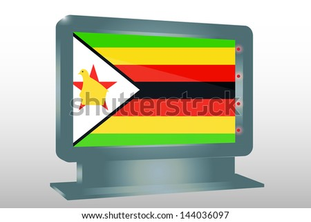 3D Vector Illustration of a Glass Holder isolated with the flag of Zimbabwe - stock vector