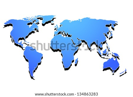 3d vector illustration of the world continents - stock vector