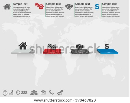 3D vector infographic success stairs with icons map and place for your text eps10 - stock vector