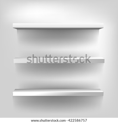 3d vector isolated white shelves on a white background. Vector interior design. White bookshelf - stock vector