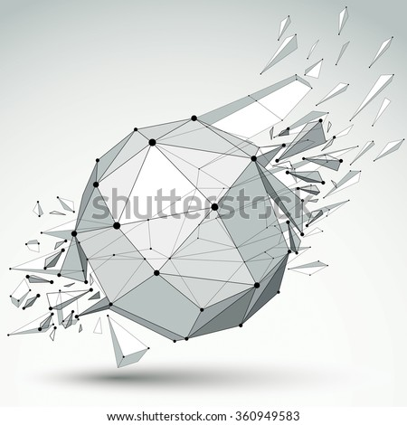 3d vector low poly object with black connected lines and dots, geometric wireframe shape with refractions. Spherical perspective shattered form. - stock vector