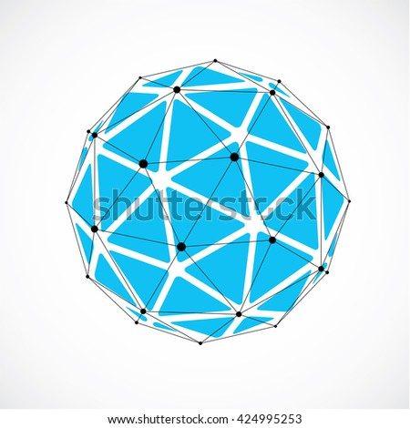 3d vector low poly spherical object with black connected lines and dots, geometric blue wireframe shape. Perspective orb created with triangular facets. - stock vector