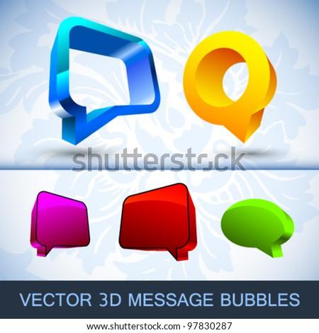 3d Vector message bubbles - stock vector