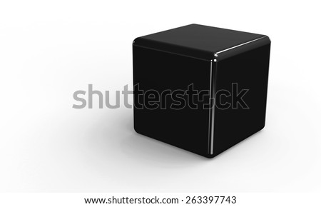 3D vector model of a black Cube. isolated on white. The cube has a shadow. - stock vector