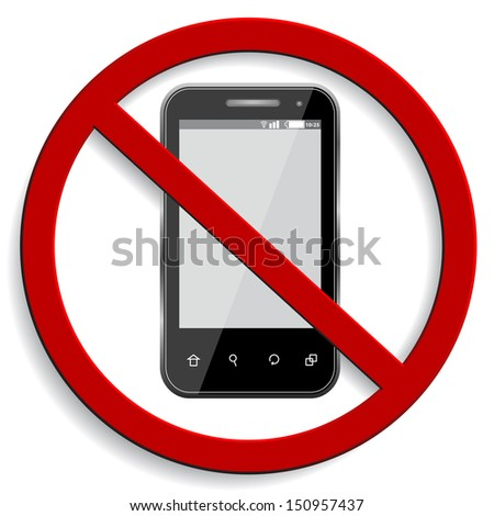 3d vector of no cell phone sign isolated on white background - stock vector
