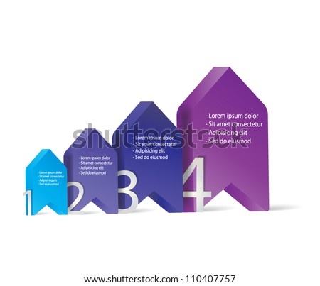 3D vector progress arrows for four steps and their description - stock vector