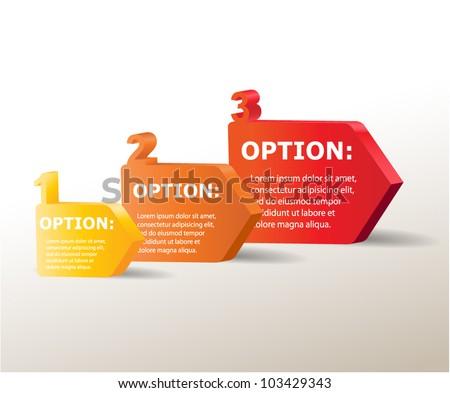 3D vector progress arrows for three steps and their description - stock vector