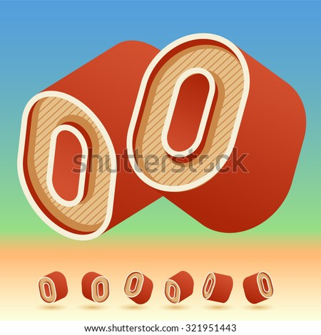 3D vector retro alphabet for summer typography design. All symbols in set have 8 random points of view. Number 0 - stock vector