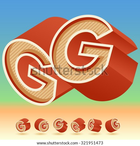 3D vector retro alphabet for summer typography design. All symbols in set have 8 random points of view. Letter G - stock vector