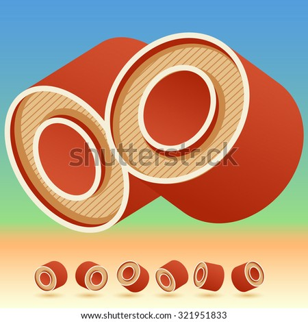 3D vector retro alphabet for summer typography design. All symbols in set have 8 random points of view. Letter O - stock vector