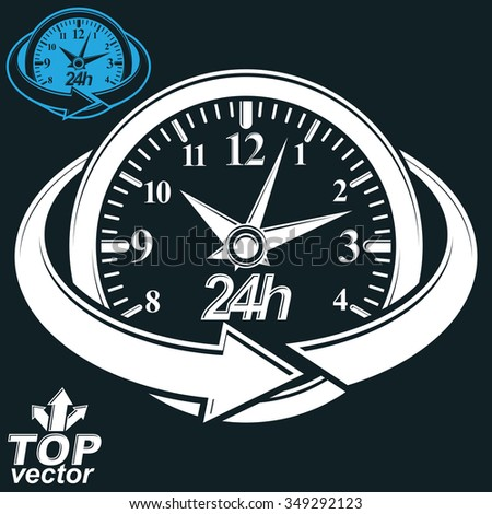 3d vector round 24 hours clock with arrow around. Business graphic perspective timer. Twenty-four hours a day conceptual elegant icon, isolated on dark background. - stock vector