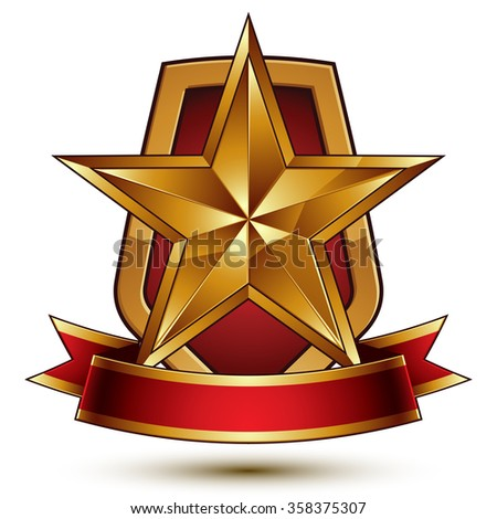 3d vector royal symbol, sophisticated protection shield with golden star and red wavy stripe, decorative emblem isolated on white background, dimensional glossy element. - stock vector