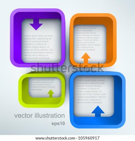 3d vector shelves with arrows - stock vector