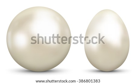 3D Vector Sphere and Egg - Side by Side - Geometrical Objects Textured with Pearl , Nacre Material. Spherical and Egg Shaped Item. Orb and Oval - Isolated on White Background - Each Form in Own Layer. - stock vector