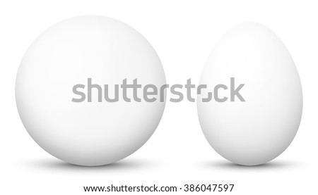 3D Vector Sphere and Egg - Side by Side - Geometrical Objects - White, Blank, Basic Surface. Spherical and Egg Shaped Item. Simple Orb and Oval - Isolated on White Background - Each Form in Own Layer. - stock vector