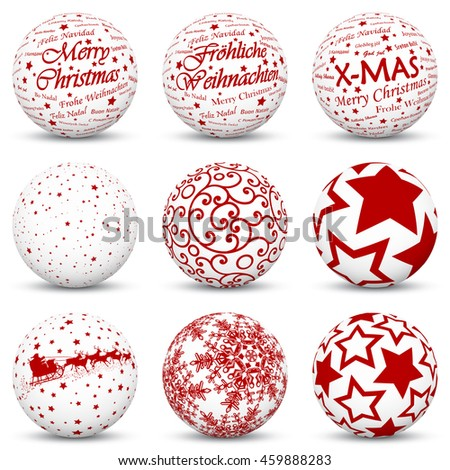 3D Vector Sphere Collection with Mapped Red Holiday Season Textures - X-Mas Symbols and Icons - Also Merry Christmas in German and International Language - stock vector