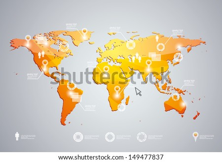 3d vector world map illustration and infographics design template.  - stock vector