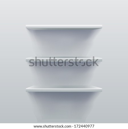 3D View of White Empty Shelves - stock vector