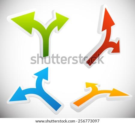 3D 2 Way Arrow Shapes Set - Arrow design elements - stock vector