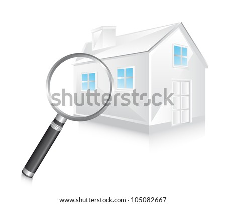 3d white house with magnifying glass. vector illustration - stock vector