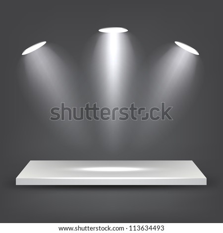3d White Shelf - stock vector