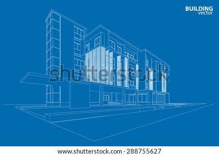 3d wire frame of building - stock vector