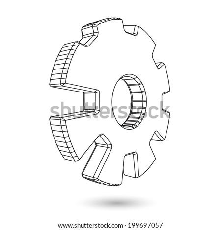 3d wire gear logo - stock vector