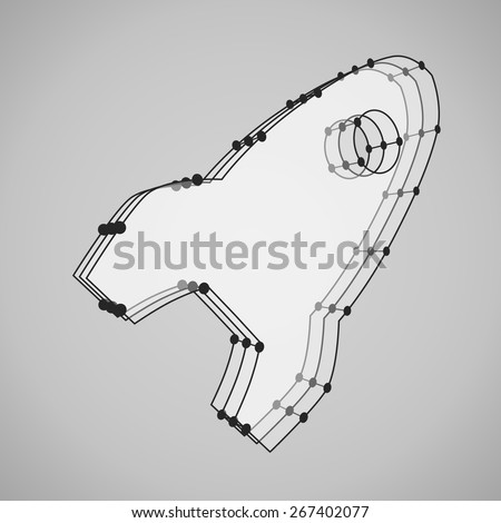 3d wireframe mesh vector rocket geometric object, perspective, isolated on background - stock vector