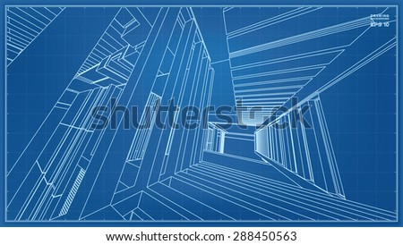3D wireframe of building. Vector illustration. - stock vector