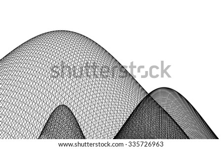 3D wireframe of mountain - stock vector