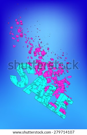 3D word sale on the depth of the ocean, gradually melts and splits - stock vector