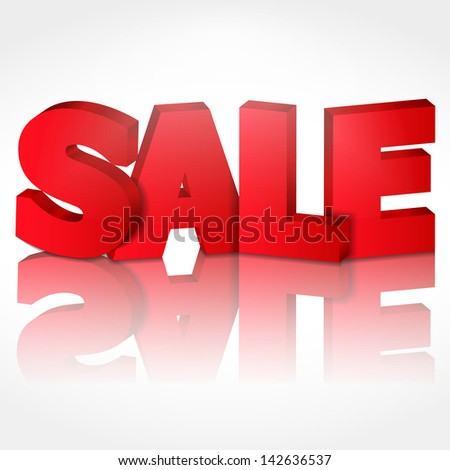 """3D word """"Sale"""" with shadow and reflection, vector eps10 illustration - stock vector"""