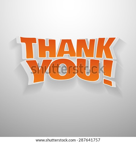 3D words thank you. Illustration text for gratefulness cards, banners, etc. - stock vector