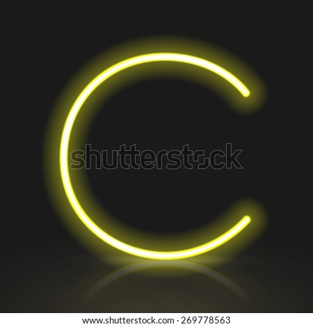 3d yellow neon light letter C isolated on black background - stock vector