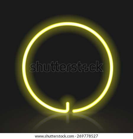 3d yellow neon light letter O isolated on black background - stock vector