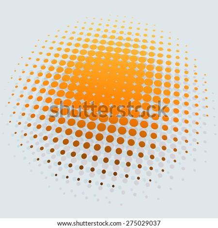 3D yellow sun halftone vector background. - stock vector