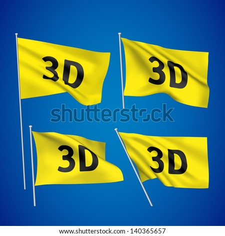 3D - yellow vector flags. A set of wavy flags created using gradient meshes. EPS 8 vector - stock vector