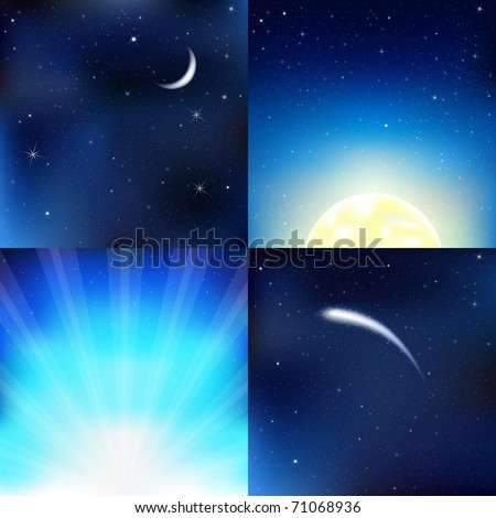 4 Dark Blue Sky, With Moon, Stars And Beams, Vector Illustration - stock vector