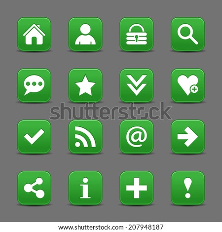 16 dark green satin icon with white basic sign on rounded square web button with black shadow on dark gray background. This vector illustration internet design element save in 8 eps - stock vector
