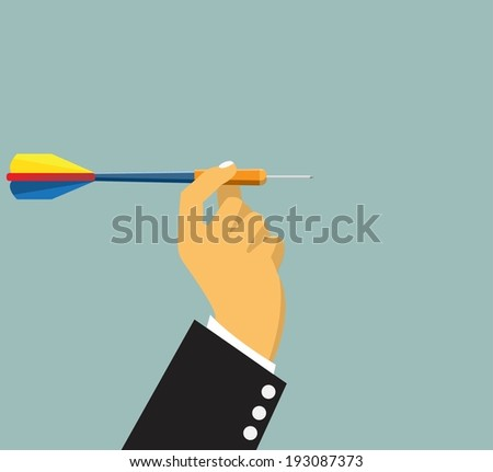 dart in hand, isolated on blue,vector - stock vector