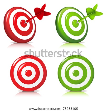 4 Darts Hitting A Target, Isolated On White Background, Vector Illustration - stock vector