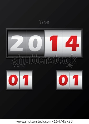 2014 date counter showing year month day - stock vector
