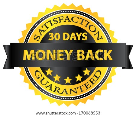 30 Days Money Back Guaranteed Badge - stock vector