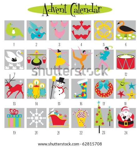 12 Days of Christmas and Advent Calendar - stock vector