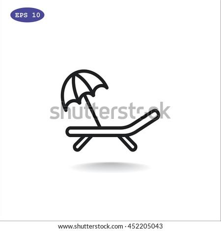 Deckchair icon flat. - stock vector
