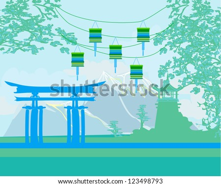 Decorative Chinese landscape - stock vector