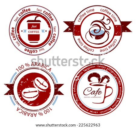 4 decorative coffee stamps over white background - stock vector