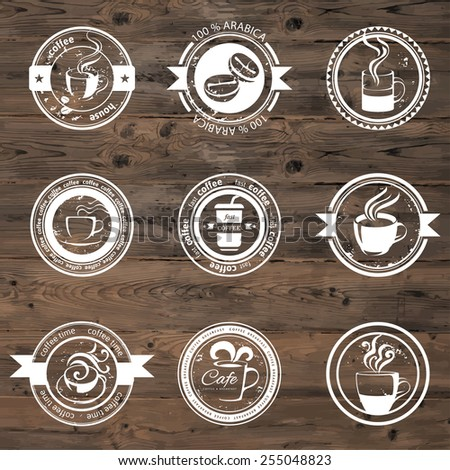9 decorative coffee stamps over wooden background - stock vector