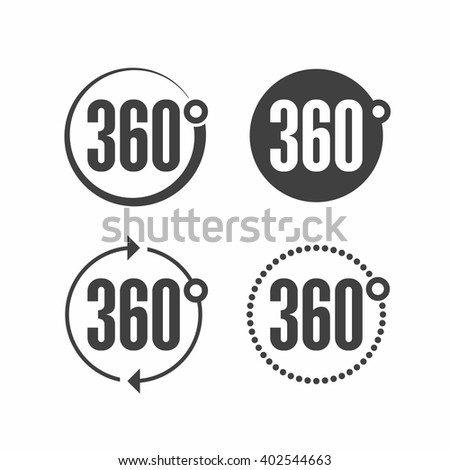 360 degrees view sign icon. Vector. - stock vector